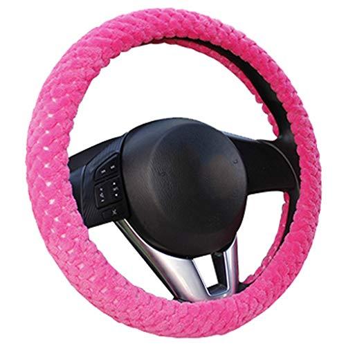 WWEEO Lenkradabdeckung Winter Auto Lenkradbezug/Universal Soft Warm Plüschbezüge für die Lenkung Frauen Männer Mädchen Auto Interieur Rose rot, Pastell -