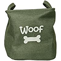 Rosewood Canvas Pet Toy Basket/Dog Toy Box Storage, Forest Green, 33x27cm