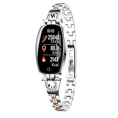 Smart Armband Mädchen Uhr Fitness Tracker Schritte Herzfrequenz Schlaf Monitor Bluetooth Wasserdichte Damenuhr (Farbe : Silber grau)