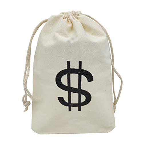 Sanrich 20 Stück Geldbeutel mit Kordelzug, 10,9 x 16,6 cm, Canvas Dollar Favor Bags für Motto Geburtstag Party - 20-dollar-münze