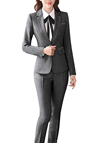 SK Studio Damen Business Hosenanzuge Slim Fit Blazer Reverskragen Karriere Hosen Anzug Set Grau 42 Tag 4XL