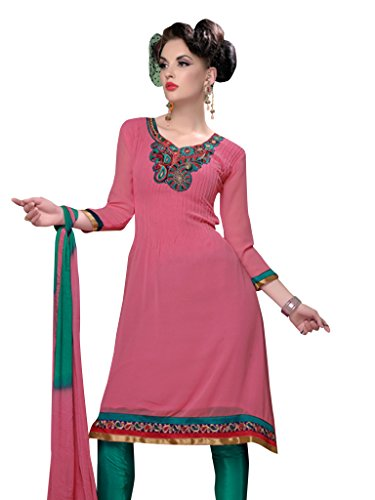 Vibes Women's Pure Cotton Straight Fit Un Stitched Salwar Kameez (V118 10_Pink)
