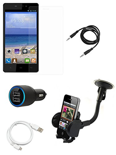 FELICITY Tempered Glass Screen Guard Screen Protector, Car Charger, USB Cable, AUX Cable,Car Mobile Holder Combo for Gionee M3  available at amazon for Rs.799
