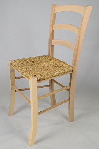 Set 2 sedie cucina e sala da pranzo dallo stile classico, con robusta struttura in legno di faggio levigato, non trattato, 100% naturale e con seduta in paglia. set paesana 32 by tommychairs, sedie di design.