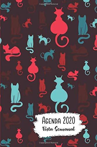 Agenda 2020 Vista Semanal: 12 Meses Programacion Semanal Calendario en Espanol Diseno Gato