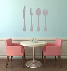 60 Second Makeover Limited Cutlery Knife Fork Spoon Wall Art Vinyl Wall Sticker Decal Graphic Mural Kitchen Diner Dining Room