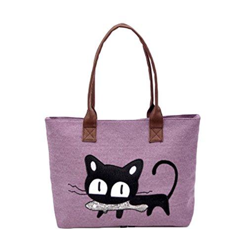 sac-a-main-feitong-mode-feminine-bandouliere-sac-de-toile-chat-mignon-sac-lunch-bag-pourpre