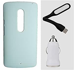 Toppings Hard Case Cover With Car Charger & USB LED LightMotorola Moto X Play - White