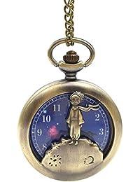 Reloj de bolsillo de cuarzo analógico clásico con diseño de planeta azul, bronce y dibujos