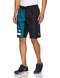 Reebok Mens Synthetic Shorts (4057286118536_BK2933_S_Black and Emetid)