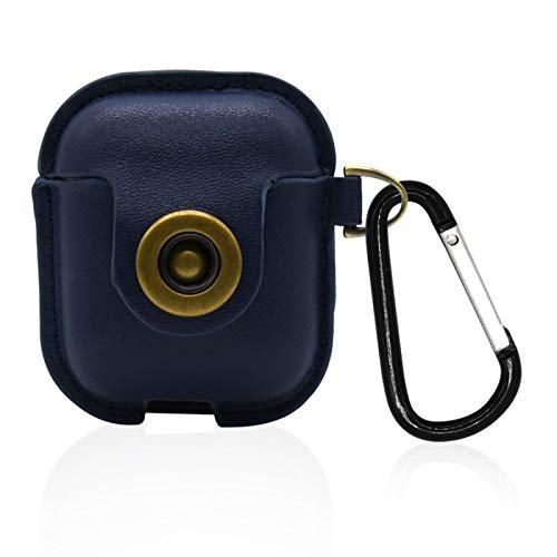 GUANLIAN Bluetooth-Kopfhörer Snap Closure Protective Cover Ledertasche für Kratzfeste Tasche für Airpods oder andere Headsets Cover Blue Snap