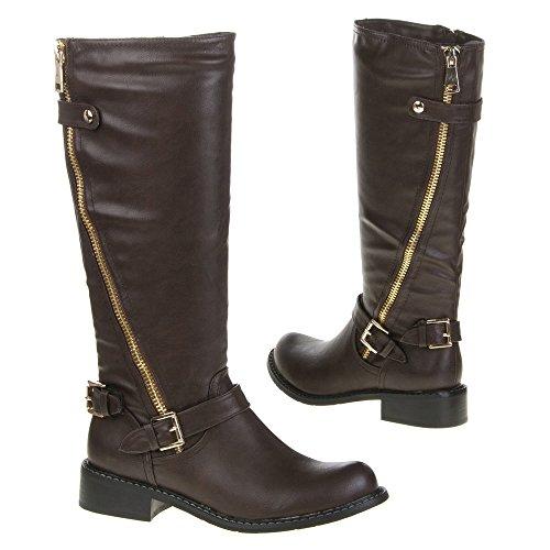 Damen Schuhe, QQ-40, STIEFEL Dunkelbraun