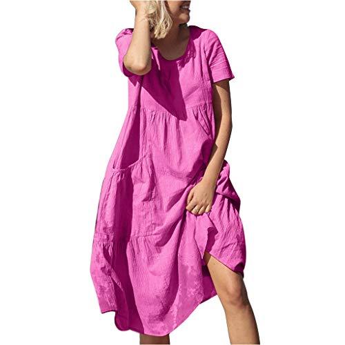 ❤Loveso❤ Damen Sommerkleid Lose Casual Kleid Einfarbig T-Shirt Kleid Ärmellos Rundkragen Strandkleid Kleider Maxikleid Casual Lose Kleid Baumwoll Leinen Mit Taschen