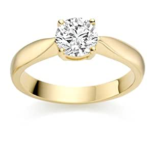 0.39 Carat E/VVS2 Round Brilliant Certified Diamond Solitaire Engagement Ring in 18k Yellow Gold
