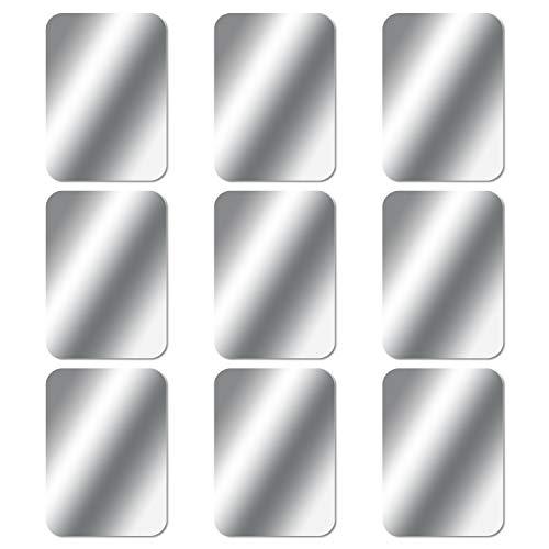 MOSUO 9 Stück Metallplatte Metallplättchen Selbstklebend Set (9 Rechteck) mit 3M Kleber für Magnet kfz Handyhalter fürs Auto Sehr Dünn Metallplatten für Handy und Tablet, Silber Dünne Handy