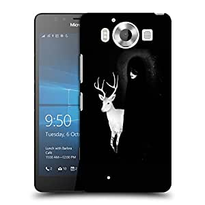 Snoogg White Deer With Black Lady Designer Protective Back Case Cover For NOKIA LUMIA 950