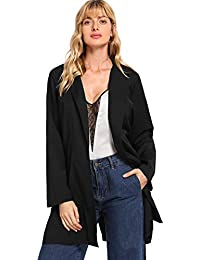 e68365a3ab SheIn Women s Casual Open Front Self Tie Waist Office Trench Coat