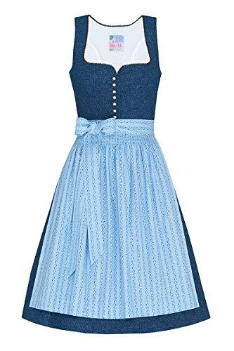 edelheiss Moser Trachten Baumwolle Mini Dirndl 60er dunkelblau hellblau Lisa 005212, Rocklänge: ca. 60cm, mit Knopfleiste, Größe 34