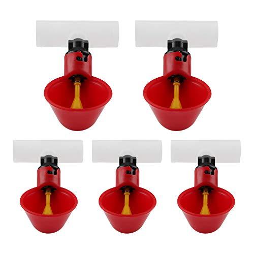 Smandy 5 Unids Automático De Plástico Bebedor De Pollo Copas Aves de Corral Waterer Dispensador de Agua Tazas Cuencos Agua Bebedor Herramienta para Pájaro Codorniz Paloma Pollo Gallina(20mm)