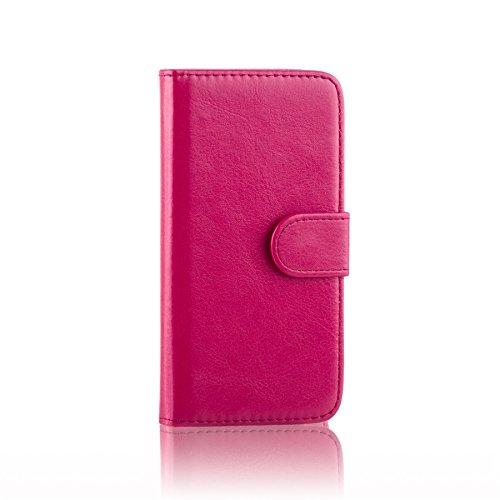 32nd PU Leder Mappen Hülle Flip Case Cover für Alcatel Idol 3 (4), Ledertasche hüllen mit Magnetverschluss und Kartensteckplatz - Hot Pink