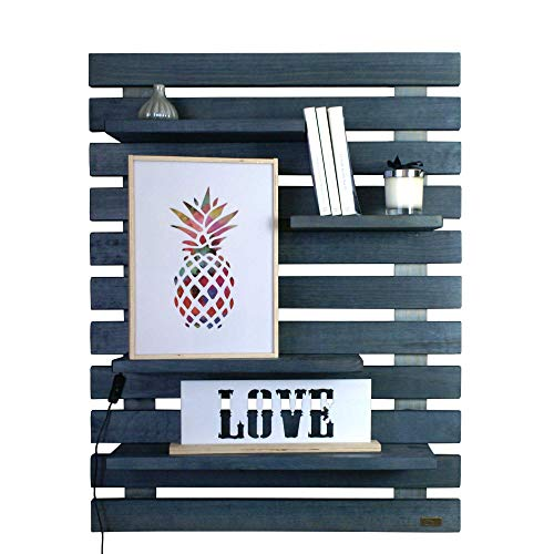 LIZA LINE LIBRERIA da Parete (Blu Petrolio) Stile Vintage, Libreria a Giorno con 4 Ripiani Regolabili in Vero Pino Massello, Ideale per corridoio, Cucina, Salotto, Bagno, Camera. 101x80x21 cm
