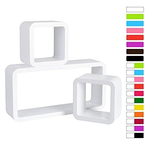 WOLTU 9210 Lot de 3 étagère murale Cube,étagère CD DVD