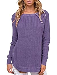 Jitong Chandail Long Pulls en Maille Femme Split Manche Longue Col Rond  Pullover Tops fdafb8e05fd3