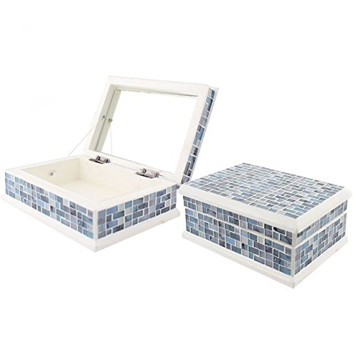 Blue Mosaic Jewellery Trinket Box With Mirror
