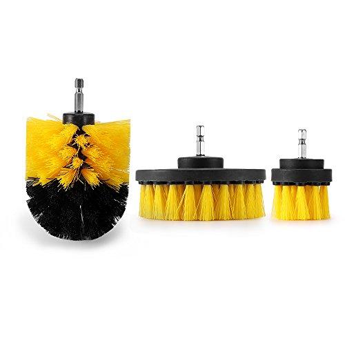 Preisvergleich Produktbild Konesky Drill Brush,  3Pcs Scrubber Reinigungsbürste Borsten Badewanne Fliesenmörtel Reiniger (Gelb)