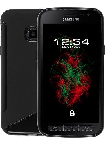 Custodia S-Style Nero per Samsung Galaxy Xcover 4 Coprire Caso Coprire Custodia per Cellulare Copertura Posteriore Custodia in Silicone