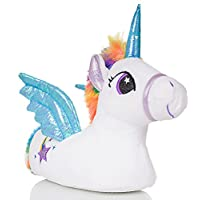 Cute Kids, Girls Novelty 3D Unicorn Slippers with Horn, Mane, Tail and Wings, Blue/White, Size 2/3