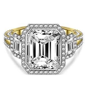 Damen-Ring Moissanit 14 Karat (750) Gelbgold 18 Karat (585) Moissanit Größe O J K L I H N M