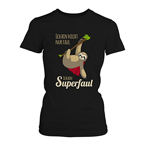 Fashionalarm Damen T-Shirt - Ich bin nicht nur faul ich bin superfaul | Fun Shirt mit Spruch als Geschenk Idee für Job Arbeit Beruf Ausbildung, Farbe:schwarz;Größe:S