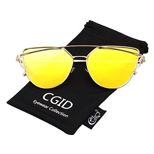 CGID Mode Polarisierte Katzenaugen Sonnenbrille For Damen UV400 reflektierenden Spiegel,Gold Gold
