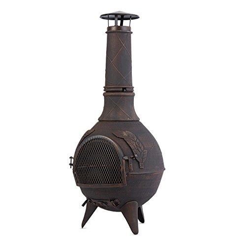 Blumfeldt Augustus - Cheminée d'extérieur brasero Mexicain Grill Barbecue pour Jardin terrasse (Hauteur 1m20, Style rétro Antique, tisonnier Inclus) - Bronze