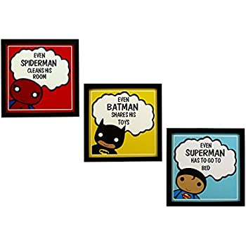 INDIANARA 3 Piece Set of Framed Wall Hanging Kids Room Decor Spiderman Batman Superman Art Prints 8.7 inch X 8.7 inch Without Glass