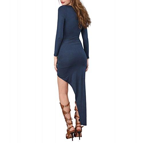 QIYUN.Z Les Femmes Jaune/Bleu Profond Mince Longue Robe Asymetrique Ourlet Manches Longues Automne Bleu Marin