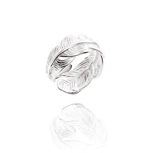 URBAN SHe° 925 Sterling Silber Wrap Up Vogel Feder Engel Feder Blatt Ring Band offen einstellbar