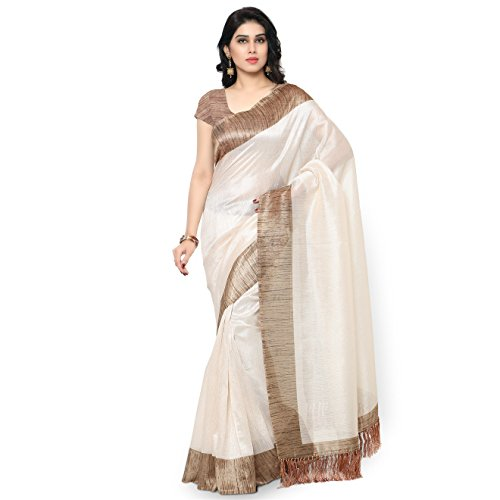 Rajnandini Women\'s Tussar Art Silk Saree (Joplnb3002, Off White, Free Size)