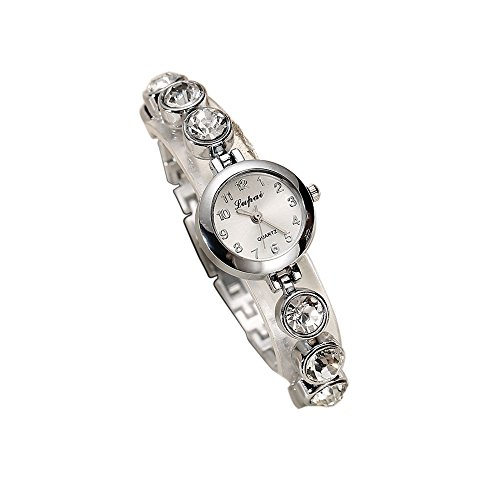 Homim Damen Armbanduhr Silber Farbe Schmal Metallarmband Batterie Uhr Frauen Strass Analog Quarzuhr