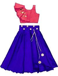 Fashion Dream Ethnic Wears Orange-Chiku Lehenga Choli For Girls