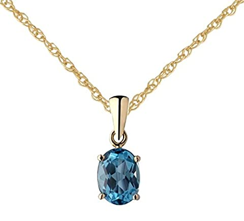 9ct Yellow Gold Real Blue Topaz 8x6mm Oval Pendant with 18