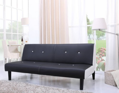 NEG Design Schlafsofa HELIOS (schwarz/weiß) mit Napalon-Leder-Bezug Klappsofa, 3-Sitzer, Liegefläche 179x108cm, sehr bequem - 3