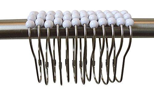 Premium Easy Roll Lot de 12 anneaux de fixation en acier inoxydable pour rideau de douche Blanc