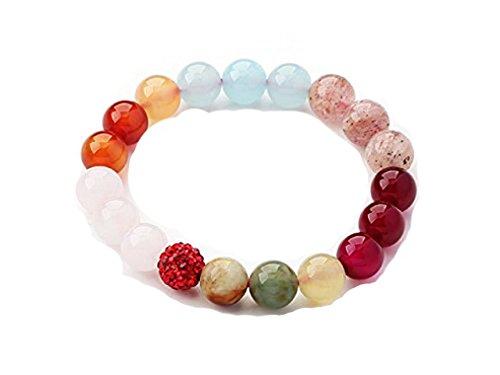 Gemstone pulsera, Multi-color de cuarzo rosa, piedra de ágata, cuarzo fresa, serpentina Jade y diamantes de imitación pulsera de perlas
