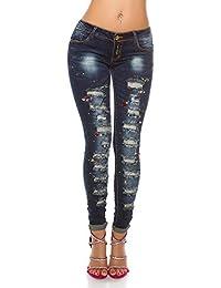 Blanco Store - Jeans Donna Skinny Pantaloni Denim con Pietre Colorate E  Strappi Used Look Pants 93945f09883