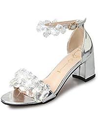 Easemax Damen Modisch Peep Toe Strass Kristall Blockabsatz Sandalen Silber 38 EU qf007s