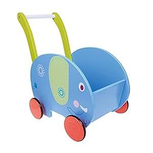 Labebe 2-in-1 girello/ Carrellino di Legno Primi Passi Doppio Uso come Libreria Portabile per Bambini, Regalo Compleanno Creativo per Neonati 1-3 Anni - Elefante Blu