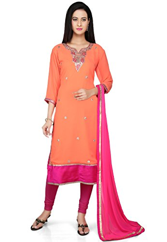 Utsav Fashion Embroidered Straight Cut Georgette Suit in Orange Color
