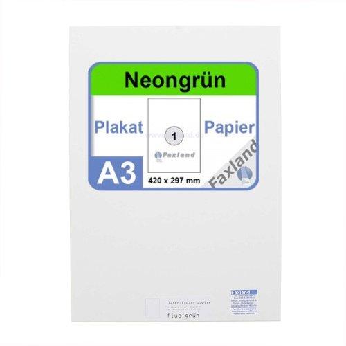 Neonpapier 100x DIN A3 Kopierpapier Neongrün - in Neon Farbe Fluo Grün Neon-plakate